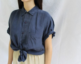 vintage ash silk navy blue blouse/ 90's / oversized blouse / button down shirt / silk minimalist top / knotted top / made in italy