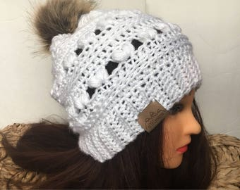 Slouchy puff stitch hat