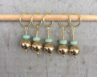 Gold & Teal Stitch Marker Set