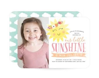 You Are My Sunshine Photo Birthday Invitation