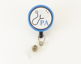 Physician Assistant - Badge Reel - Retractable ID Badge - Medical Badge Holder - Name Badge Reels - Badge ID Holder - Badge Clip - ID Badge