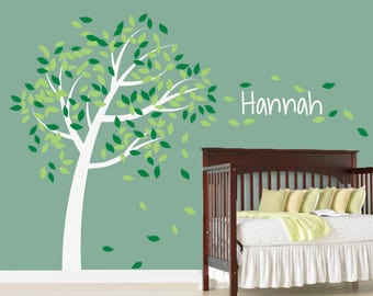 Tree Decal, Tree Blowing in Wind Decal, Giving Tree Decal, 686