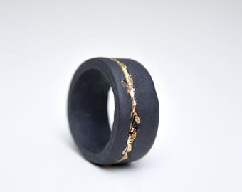 Christmas gift, porcelain jewelry, rustic ring, black ring, gold plated ring, porcelain jewelry, ceramic jewelry, porcelain ring, band ring