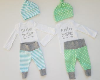 Little Brother Baby Boy Coming Home Outfit Set. Matching Baby Boy Twin Matching Sets. Twin Gender Reveal. Matching Twin Coming Home Outfits