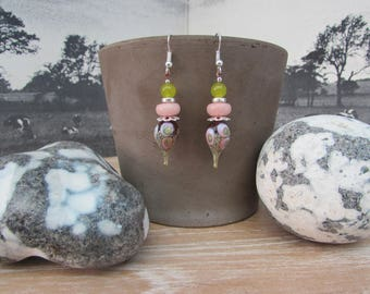 "Earrings handmade Lampwork Glass and stones ""Sweetness"""