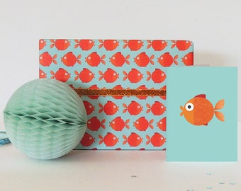 Goldfish Wrapping Paper (2 sheets) | gift wrap | goldfish gift wrap | children's gift wrap | goldfish lovers | luxury gift wrap