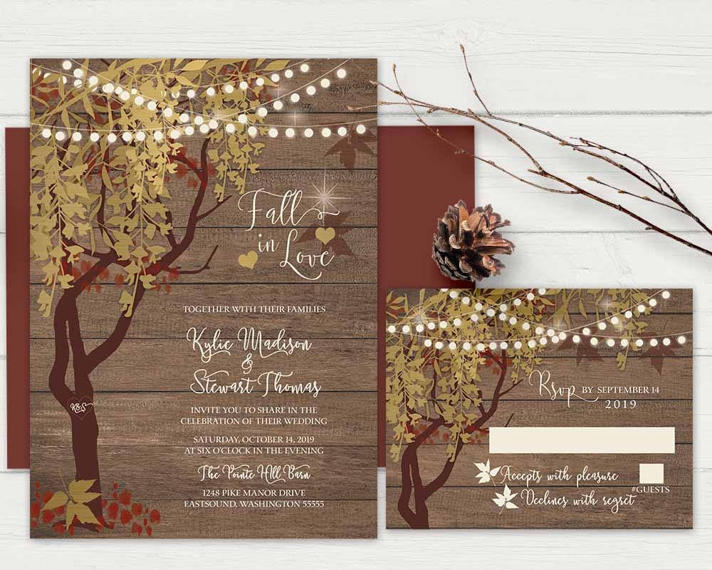 Fall wedding invitations which you can order to print on your own or we can print them for you.  • • • • • DETAILS • • • • • This wedding set is available in th