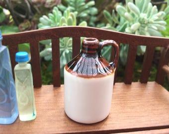 Miniature Wine Jug, Mini Crock, Ceramic Jug, Dollhouse Miniature, 1:12 Scale, Dollhouse Accessory, Mini Decor, Fairy Garden Accessory