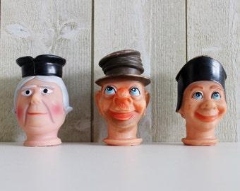 Cirque Français Marionnette marionnette, lot de 3 marionnettes Vintage, tête de poupée rétro, jouets Vintage, marionnettes marionnette, Guignol FRANCE - D392