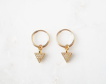 Tiny Triangle CZ Hoop Earrings * spike hoop earrings, small triangle, small ear cuff, dagger hoops, pointy hoops, huggie earrings,snug cuff