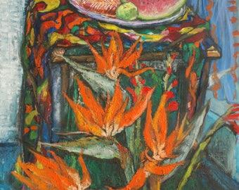 Original Oil Painting Still life with Bird of Paradise