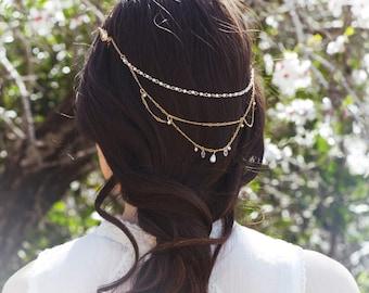Gold Wedding Crown, Bridal Crown, Bridal Hair Chain, Bridal Gold Head Piece, Gold Bridal Crown, Delicate Bridal Crown, Vintage Crown, Wreath