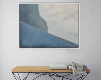Abstract Landscape Painting Ocean Cliff Modern Art Painting Wall Decor Bedroom Decor Living Room Decor Minimalist Art Midcentury Modern