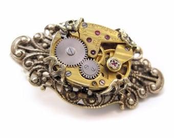 Steampunk jewelry, Men's Steampunk Tie Bar, brass men's jewelry, alligator clip, watch tie bar, gift for men, wedding, anniversary