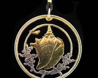 Cut Coin Jewelry - Pendant - Bahamas - Conch Shell