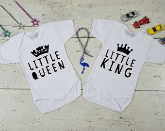 Onesies for Twins,King and Queen Twins,Twin Baby Gift,Boy/Girl Clothing for Twins,Twin Outfit,Twin Clothing,King/Queen Twin Onesies
