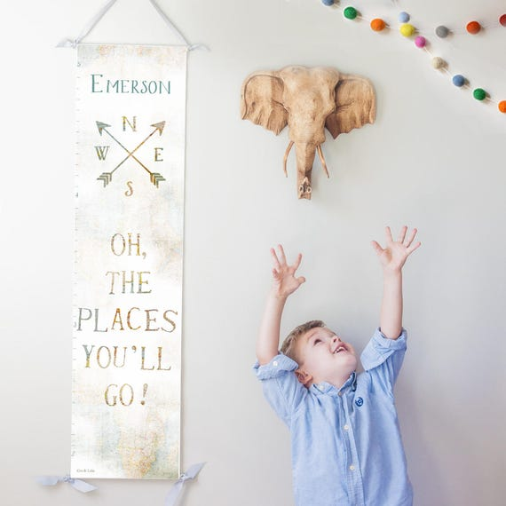 "Personalized ""Oh the Places You'll Go"" canvas growth chart with vintage map background"