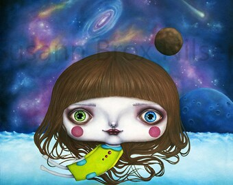 "Giclee print of ""My second home"", art by Susann Brox Nilsen. Universe, planets, nebula, painting, surrealism, pop art, stars, big eyes, girl"