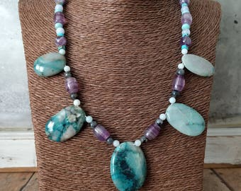 Amazonite, Amethyst, Azurite, Black Labradorite, Blue Lace Agate, Flourite, Turquoise Necklace Sterling Silver ~ 19 inches - Blue Necklace