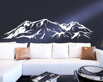 Mountain Wall Decal - Snowy Mountain Range Wall Art - Hills Scene Home Vinyl Decor Sticker - white or choose color - K387