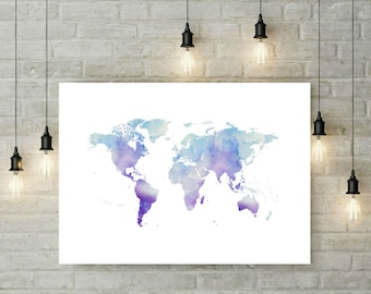 Blue world map printable art watercolour world map print world map printable poster wall art print blue watercolour world map home decor blue map world gumiabroncs Gallery
