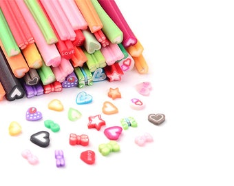 fimo canes 50 tubes 5cm hearts stars bow