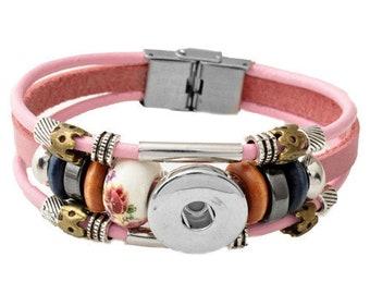 Beaded, Leather Snap Bracelet