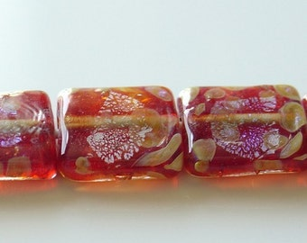 15.5mm Unicorne Lampwork Tile Bead - Trojan Red - 2 Pieces - 21723