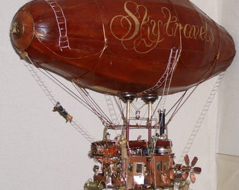 "Airship-air coach""Sky travels"" Interior art object, collector's copy, one-of-a-kind, handmade. Steam punk  style."