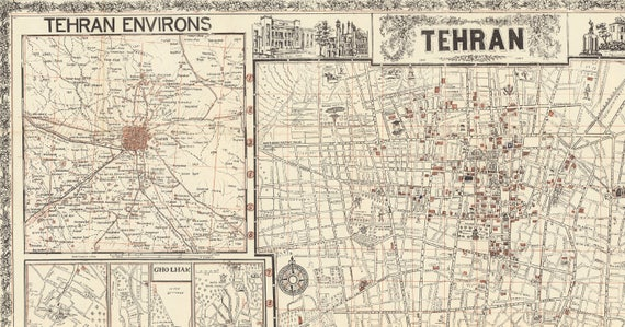 Map of Tehran Old Map of Iran Tehran Old Map Tehran Street
