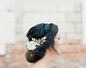 Crystal Floral Bridal Headpiece, Ivory Wedding Headpiece, Silk Flower Crystal Floral Bridal Hair Comb, Beaded Bridal Headpiece - Style 411
