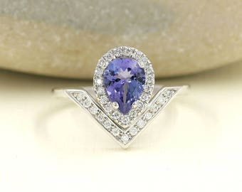 Pear Shaped Tanzanite Engagement Ring.Diamond Engagement Ring.14K Solid White Gold Engagement Ring.0.28ct High Quality Diamonds.Unique Ring.