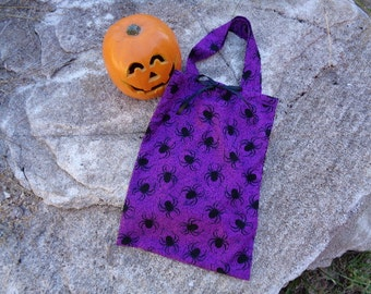 Spooky Spiders Purple Cotton Fabric Halloween Candy Tote Bag