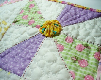 Sale PINWHEELS AND YOYOS, 24X16 inch handmade quilted wallhanging