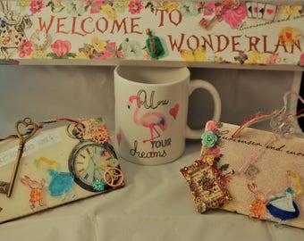 Alice in Wonderland customized gifts, Birthday Gifts, Steampunk gifts, unusual gifts,vintage alice, white rabbit, Cheshire cat gifts,
