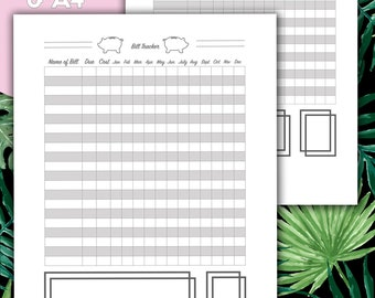 Budget Planner, Finance Planner, Printable Planner, Money, Expenses, Bill Tracker, Bill Pay, US Letter, A4
