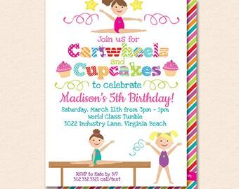 Gymnastics Invitation - Gymnastics Invite - Cartwheels Cupcakes - Girls Gymnastics Birthday - Printable Instant Download Editable PDF