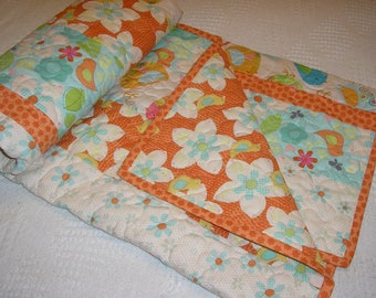 Baby Blanket, Baby Girl Quilt, Birds and Flowers Baby Quilt, 36 x 44 inches