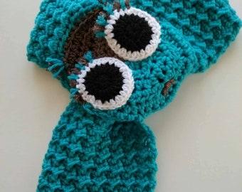Crochet Animal Scarf, Owl Scarf, Adjustable Scarf, Crochet Baby, Winter Scarf, Neck Warmer, Handmade Scarf, Birthday Gift, Woodland Scarf
