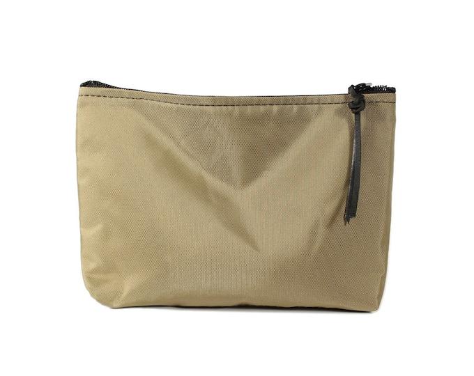 "9"" Khaki Nylon fabric cosmetic bag/pouch"