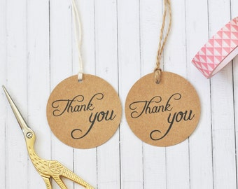 Thank You Circle Gift Tag, Wedding Favor Tag, Round Kraft Gift Tag, 2 inch gift tag,  Pack of 10, 20, 50, 100 or custom sized pack available