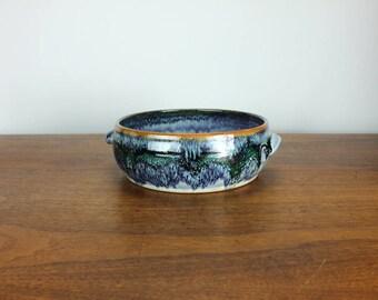 Vintage USA Pottery Benjamin Burns Plant Holder with Handles Glazed Stoneware 90's Seagrove North Carolina