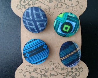 Dark Blue and Green Fabric Covered Buttons