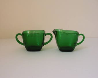 Vintage Fire King Charm Forest Green Sugar and Creamer set