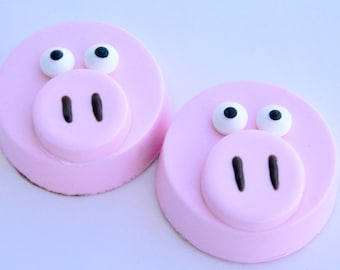 Pig Chocolate Covered Oreos (12), Peppa Pig Favors, Pig Favors, Farm Party, John Deere Party, Baby Shower Favors, Gender Reveal favors, 4H