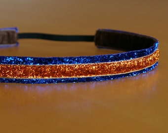 Denver Broncos headband, women's Broncos headband, Broncos headband, blue and orange glitter headband, girl's Broncos headband