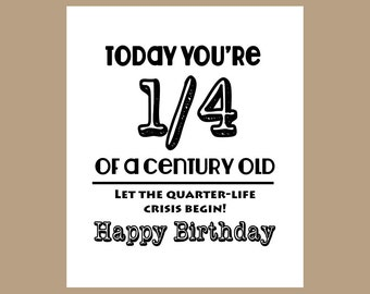 25th birthday card etsy 25th birthday card 14 century old card milestone card 1982 birthday bookmarktalkfo Gallery