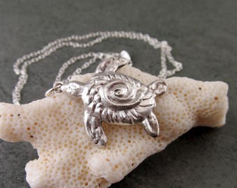 Silver turtle pendant, handmade recycled fine silver honu necklace-OOAK