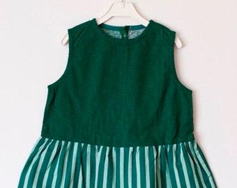 Cotton Dress, Flower Girl, Summer Dress, Rustic Wedding, Green Cotton, Cute dresses, Casual dresses,  Round Neck, Country Dress, Handmade