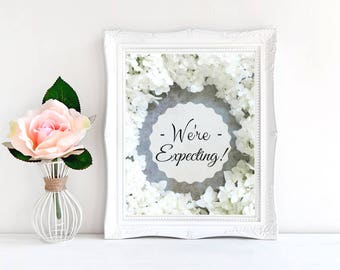 We're Expecting - Pregnancy announcement - Pregnancy Reveal - Card and sign - Printable - Photo prop - 5x7 & 810 - Instant Download.